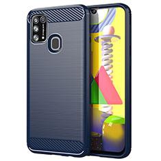 Coque Silicone Housse Etui Gel Line pour Samsung Galaxy M21s Bleu