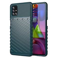 Coque Silicone Housse Etui Gel Line pour Samsung Galaxy M51 Vert