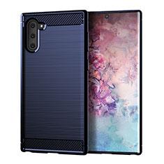Coque Silicone Housse Etui Gel Line pour Samsung Galaxy Note 10 Bleu