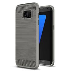 Coque Silicone Housse Etui Gel Line pour Samsung Galaxy S7 Edge G935F Gris