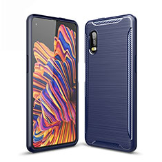 Coque Silicone Housse Etui Gel Line pour Samsung Galaxy XCover Pro Bleu