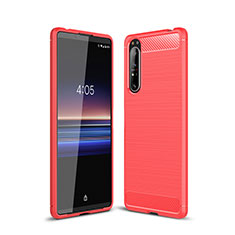 Coque Silicone Housse Etui Gel Line pour Sony Xperia 1 II Rouge