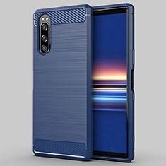 Coque Silicone Housse Etui Gel Line pour Sony Xperia 5 Bleu