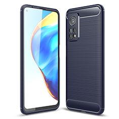 Coque Silicone Housse Etui Gel Line pour Xiaomi Mi 10T 5G Bleu