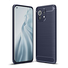 Coque Silicone Housse Etui Gel Line pour Xiaomi Mi 11 5G Bleu