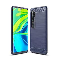Coque Silicone Housse Etui Gel Line pour Xiaomi Mi Note 10 Bleu