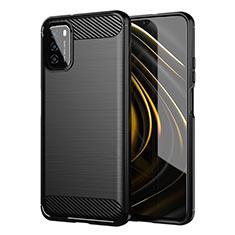 Coque Silicone Housse Etui Gel Line pour Xiaomi Poco M3 Noir
