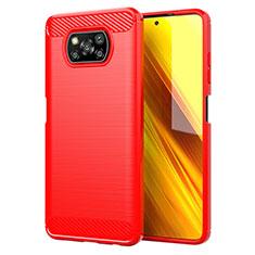 Coque Silicone Housse Etui Gel Line pour Xiaomi Poco X3 NFC Rouge