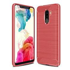 Coque Silicone Housse Etui Gel Line pour Xiaomi Pocophone F1 Rouge