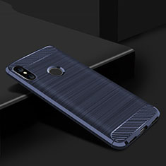 Coque Silicone Housse Etui Gel Line pour Xiaomi Redmi 6 Pro Bleu