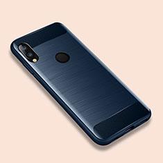 Coque Silicone Housse Etui Gel Line pour Xiaomi Redmi Note 7 Bleu