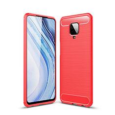 Coque Silicone Housse Etui Gel Line pour Xiaomi Redmi Note 9 Pro Rouge