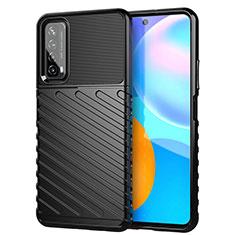 Coque Silicone Housse Etui Gel Line S01 pour Huawei P Smart (2021) Noir