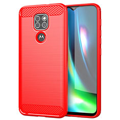 Coque Silicone Housse Etui Gel Line S01 pour Motorola Moto G9 Play Rouge