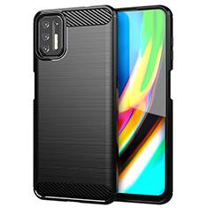 Coque Silicone Housse Etui Gel Line S01 pour Motorola Moto G9 Plus Noir