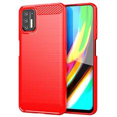 Coque Silicone Housse Etui Gel Line S01 pour Motorola Moto G9 Plus Rouge