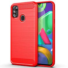 Coque Silicone Housse Etui Gel Line S01 pour Samsung Galaxy M21 Rouge