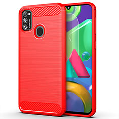 Coque Silicone Housse Etui Gel Line S01 pour Samsung Galaxy M30s Rouge