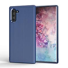 Coque Silicone Housse Etui Gel Line S01 pour Samsung Galaxy Note 10 Bleu