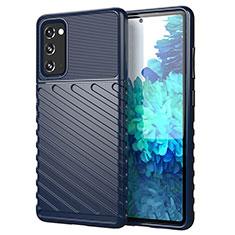 Coque Silicone Housse Etui Gel Line S01 pour Samsung Galaxy S20 FE 5G Bleu