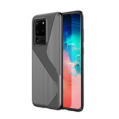 Coque Silicone Housse Etui Gel Line S01 pour Samsung Galaxy S20 Ultra 5G Noir