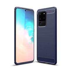 Coque Silicone Housse Etui Gel Line S02 pour Samsung Galaxy S20 Ultra 5G Bleu