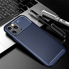 Coque Silicone Housse Etui Gel Serge pour Apple iPhone 12 Max Bleu