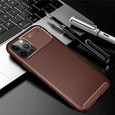 Coque Silicone Housse Etui Gel Serge pour Apple iPhone 12 Pro Marron