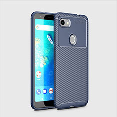 Coque Silicone Housse Etui Gel Serge pour Google Pixel 3a Bleu