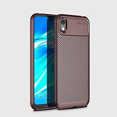 Coque Silicone Housse Etui Gel Serge pour Huawei Enjoy 8S Marron