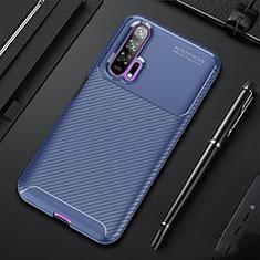 Coque Silicone Housse Etui Gel Serge pour Huawei Honor 20 Pro Bleu