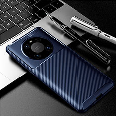 Coque Silicone Housse Etui Gel Serge pour Huawei Mate 40 Bleu