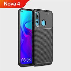 Coque Silicone Housse Etui Gel Serge pour Huawei Nova 4 Noir