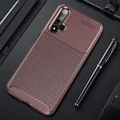 Coque Silicone Housse Etui Gel Serge pour Huawei Nova 5T Marron