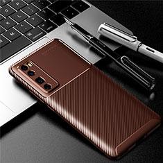 Coque Silicone Housse Etui Gel Serge pour Huawei Nova 7 Pro 5G Marron