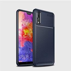 Coque Silicone Housse Etui Gel Serge pour Huawei P20 Bleu