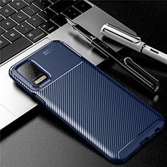 Coque Silicone Housse Etui Gel Serge pour LG K52 Bleu