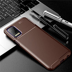 Coque Silicone Housse Etui Gel Serge pour LG K52 Marron