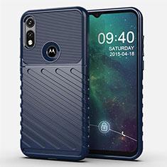 Coque Silicone Housse Etui Gel Serge pour Motorola Moto E (2020) Bleu
