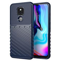 Coque Silicone Housse Etui Gel Serge pour Motorola Moto E7 Plus Bleu