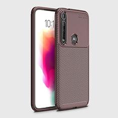 Coque Silicone Housse Etui Gel Serge pour Motorola Moto G8 Plus Marron