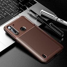 Coque Silicone Housse Etui Gel Serge pour Motorola Moto G8 Power Lite Marron
