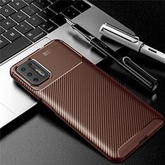 Coque Silicone Housse Etui Gel Serge pour Motorola Moto G9 Plus Marron