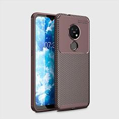 Coque Silicone Housse Etui Gel Serge pour Nokia 7.2 Marron