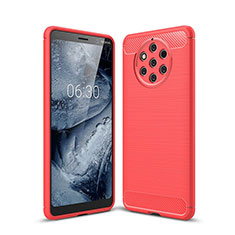Coque Silicone Housse Etui Gel Serge pour Nokia 9 PureView Rouge
