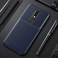 Coque Silicone Housse Etui Gel Serge pour Nokia X3 Bleu