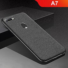 Coque Silicone Housse Etui Gel Serge pour Oppo A7 Noir
