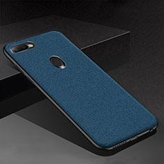 Coque Silicone Housse Etui Gel Serge pour Oppo AX7 Bleu