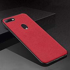 Coque Silicone Housse Etui Gel Serge pour Oppo AX7 Rouge