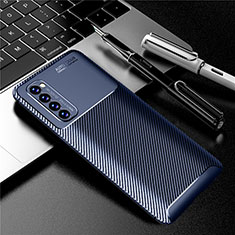Coque Silicone Housse Etui Gel Serge pour Oppo Reno4 Pro 4G Bleu